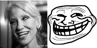 At Left: White House Counselor KelleyAnne Conway; At right: U MAD BRO?
